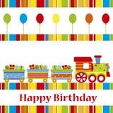 Carte d'anniversaire avec le train Images libres de droits