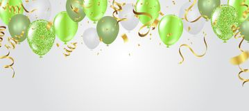 Carte d'anniversaire avec les ballons verts Joyeux anniversaire illustration libre de droits