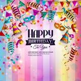 Carte d'anniversaire avec les rubans de bordage colorés Photos stock