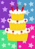 Carte d'anniversaire avec un gâteau illustration libre de droits