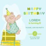 Carte d'anniversaire d'ours de bébé illustration de vecteur