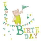 Carte d'anniversaire d'ours de bébé illustration libre de droits