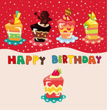 Carte d'anniversaire de gâteau de dessin animé Photos stock