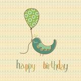 Carte d'anniversaire de salutation avec l'oiseau mignon illustration de vecteur