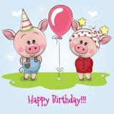 Carte d'anniversaire de salutation avec les porcs mignons illustration libre de droits