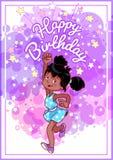 Carte d'anniversaire de salutation avec une fille heureuse d'afro-américain illustration stock