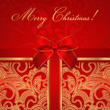 Carte d'anniversaire de vacances/Noël/. Boîte-cadeau, arc Image stock