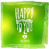 Carte d'anniversaire de vert de dessin de croquis Image libre de droits