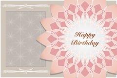 Carte d'anniversaire de vintage, carte de lotus Illustration Stock