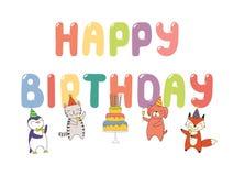Carte d'anniversaire mignonne, bannière illustration stock