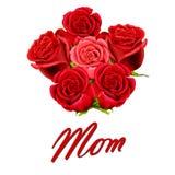 Carte d'anniversaire ou de jour de mère à la maman avec des roses illustration libre de droits