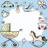 Carte d'annonce de bébé ou cadre de bébé illustration stock