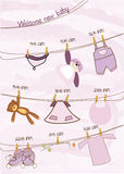 Carte d'annonce de douche de bébé illustration de vecteur