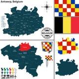 Carte d'Anvers, Belgique Photographie stock