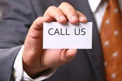 carte d'appel d'affaires nous Images stock