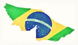 Carte d'aquarelle d'acre avec le drapeau national brésilien devant W Image stock