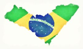 Carte d'aquarelle d'Alagoas avec le drapeau national brésilien devant Photographie stock libre de droits