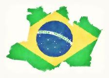 Carte d'aquarelle d'Amazonas avec le drapeau national brésilien devant Photos stock