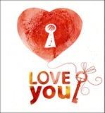 Carte d'aquarelle avec le coeur pour vous Photos stock
