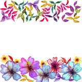 Carte d'aquarelle avec les fleurs colorées décoratives Image libre de droits