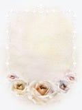 Carte d'aquarelle avec les roses et la frontière Image libre de droits