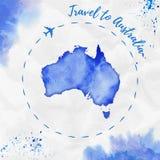Carte d'aquarelle d'Australie dans des couleurs bleues illustration libre de droits