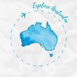 Carte d'aquarelle d'Australie dans des couleurs de turquoise illustration de vecteur