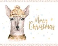 Carte d'aquarelle de Joyeux Noël avec le fawl Affiches de lettrage de bonne année de cerfs communs de bébé Swowflakes d'hiver de  Photo stock