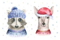 Carte d'aquarelle de Joyeux Noël avec les éléments deerfloral de raton laveur et de bébé Affiches de lettrage de faon de bonne an Photo stock