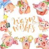 Carte d'aquarelle de Joyeux Noël avec les porcs drôles mignons et les souhaits chauds de inscription tirés par la main de citatio illustration de vecteur
