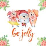 Carte d'aquarelle de Joyeux Noël avec les porcs et la Santa drôles mignons en marquant avec des lettres la citation soyez gai illustration libre de droits