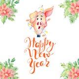 Carte d'aquarelle de Joyeux Noël avec les porcs et la Santa drôles mignons en marquant avec des lettres la citation soyez carte j illustration libre de droits