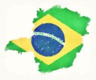 Carte d'aquarelle de Minas Gerais avec le drapeau national brésilien dans le fron Photographie stock
