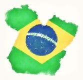 Carte d'aquarelle de Para avec le drapeau national brésilien devant W Image stock