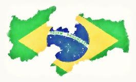 Carte d'aquarelle de Paraiba avec le drapeau national brésilien devant Photo stock