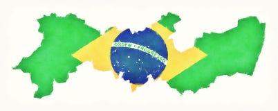 Carte d'aquarelle de Pernambuco avec le drapeau national brésilien dans l'avant Photos stock