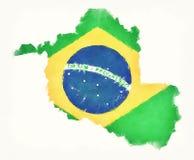 Carte d'aquarelle de Rondonia avec le drapeau national brésilien devant Photos stock