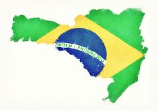 Carte d'aquarelle de Santa Catarina avec le drapeau national brésilien en franc Photo libre de droits