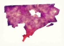 Carte d'aquarelle de ville de Detroit Michigan devant un backgro blanc illustration libre de droits