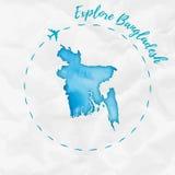 Carte d'aquarelle du Bangladesh dans des couleurs de turquoise Photos stock