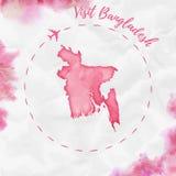 Carte d'aquarelle du Bangladesh dans des couleurs rouges Images libres de droits