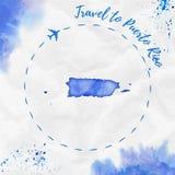 Carte d'aquarelle du Porto Rico dans des couleurs bleues Image libre de droits