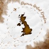 Carte d'aquarelle du Royaume-Uni dans des couleurs de sépia illustration libre de droits