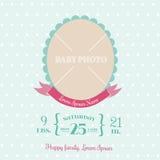 Carte d'arrivée de bébé - avec l'endroit pour votre texte et photo - dans le vec Photographie stock libre de droits