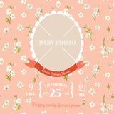 Carte d'arrivée de bébé - avec le cadre de photo Photo libre de droits