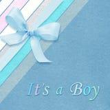 Carte d'arrivée de bébé garçon Photographie stock