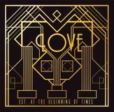 Carte d'Art Deco Love Image libre de droits
