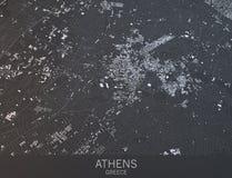 Carte d'Athènes, vue satellite, ville, Grèce Photographie stock libre de droits