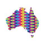 Carte d'Australie avec le fond coloré multi de style de brique illustration libre de droits