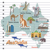 Carte d'Australie et icône de voyage Photos stock